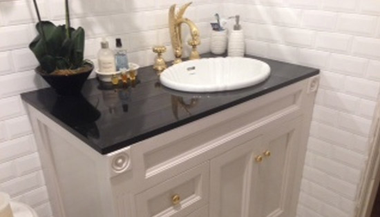"Custom Solid Timber ""Classique"" Vanity, Fluted Bowl and Gold Tap Ware"